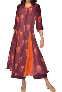 mauve-orange-printed-kurta