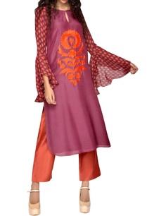 purple-kurta-with-printed-sleeves