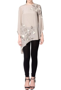 grey-embroidered-asymmetric-top