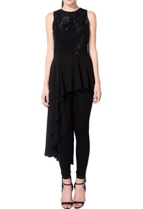 black-asymmetric-embellished-tunic
