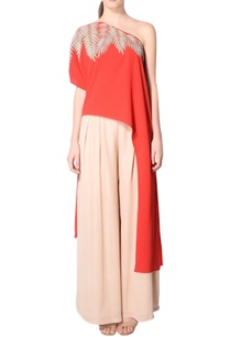 red-asymmetric-one-shoulder-tunic