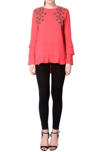 red-blouse-with-layered-sleeves