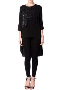 black-embellished-asymmetric-tunic