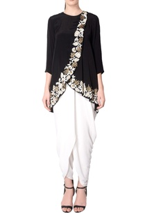 black-embroidered-overlapping-tunic