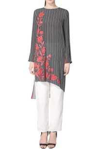 black-striped-kurta-with-embroidery
