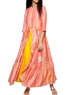 peach-butti-pintuck-kurta-yellow-pants