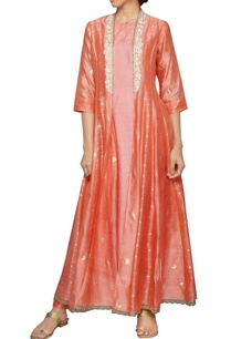 peach-cutwork-embroidered-jacket-dress