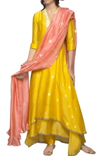yellow-asymmetric-kurta-set