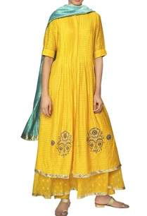 yellow-check-flared-kurta-dupatta