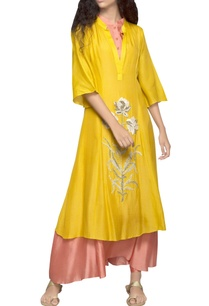 yellow-double-layer-kurta