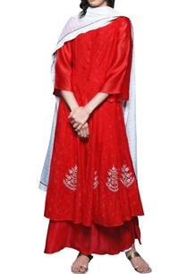 crimson-red-double-layered-kurta-dupatta