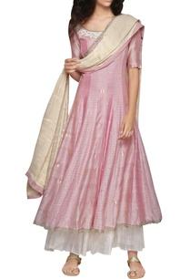 rose-pink-godet-kurta-and-golden-dupatta-set