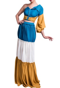 blue-mustard-yellow-top-layered-skirt