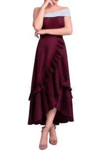 wine-ruffled-off-shoulder-midi-dress