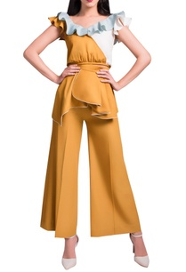 mustard-powder-blue-pant-set