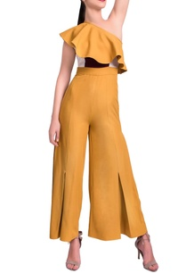 mustard-yellow-one-shoulder-jumpsuit