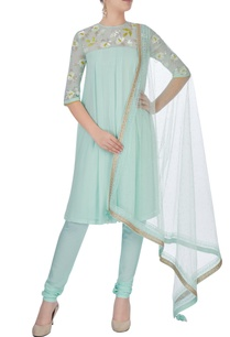 aqua-green-embroidered-kurta-set