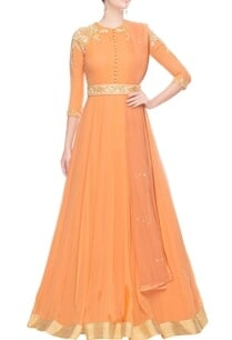 rust-orange-cold-shoulder-anarkali