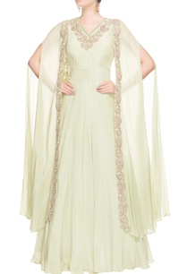 light-green-anarkali-with-draped-sleeves