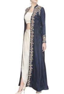 white-dhoti-set-with-embroidered-blue-jacket