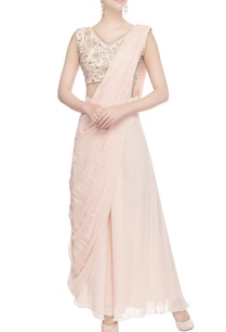 peach-blouse-with-attached-drape-palazzos