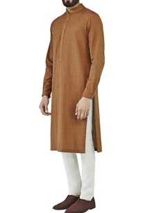 brown-kurta-with-side-panel