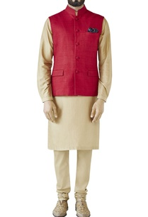 maroon-side-panel-nehru-jacket