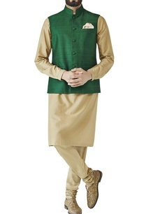 green-nehru-jacket-with-fabric-buttons