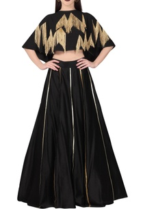 black-striped-chanderi-lehenga