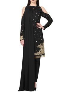 black-gold-embellished-kurta-set