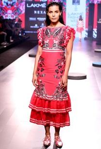 magenta-printed-midi-dress