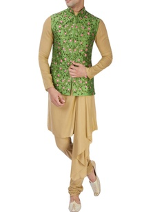 green-floral-nehru-jacket-set