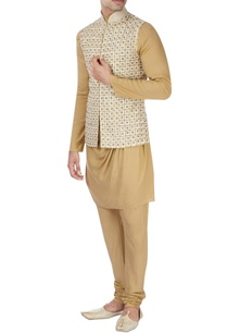 beige-machine-embroidered-nehru-jacket-set
