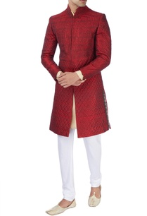 maroon-machine-embroidered-sherwani-set