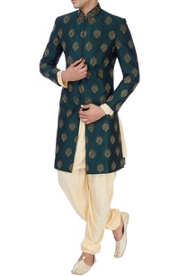 dark-green-machine-embroidered-sherwani-set