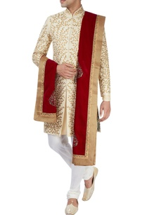 beige-machine-embroidered-sherwani-set