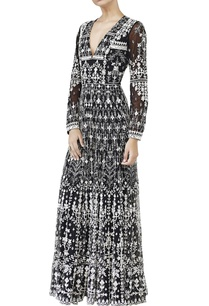 black-embroidred-mirror-work-gown