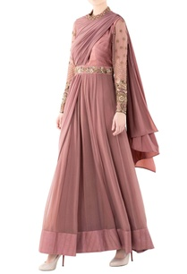 peach-sari-gown-with-one-shoulder-drape