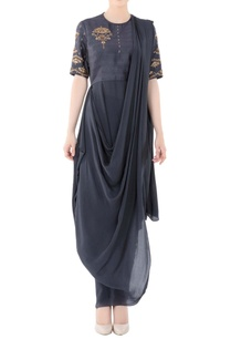 charcoal-grey-one-shoulder-drape-gown