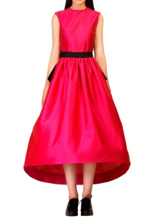 fuchsia-pink-asymmetrical-dress-with-bow-belt