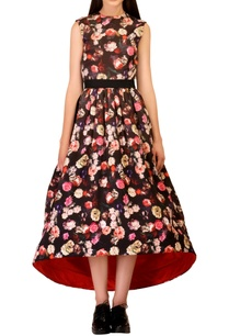 floral-asymmetrical-dress-with-black-bow-belt