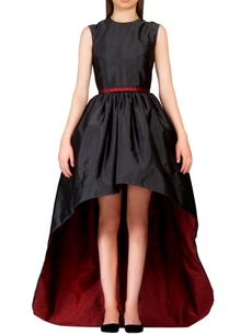 black-burgundy-high-low-dress