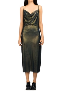 green-metallic-slip-dress