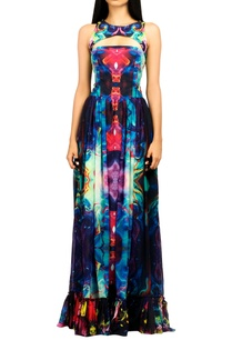 multicolored-digital-print-ruffle-gown
