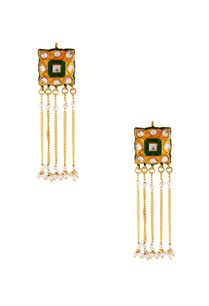 green-meenakari-fringe-earrings