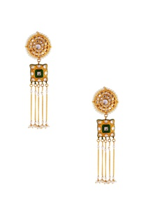 green-kundan-tassel-earrings