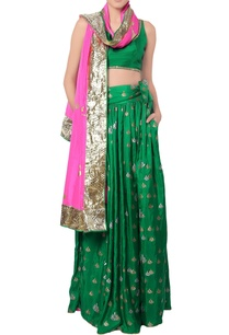 forest-green-bustier-and-lehenga-set