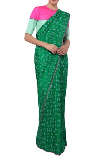 green-tribal-sari-with-blouse