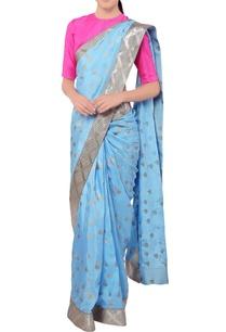 blue-lotus-print-sari-pink