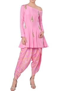 pink-draped-pant-and-kurta-set